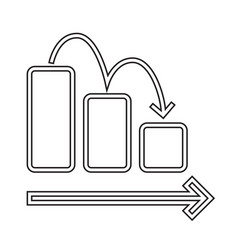 Downward chart line icon vector