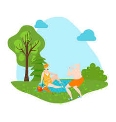 eldery people sunbathing on nature outdoor in vector image