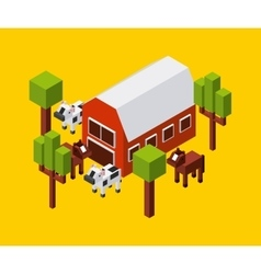 Farm cow trees horse icon Isometric design vector