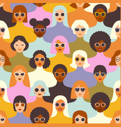 female diverse faces different ethnicity vector image