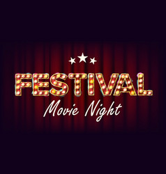 Festival movie night banner retro cinema vector
