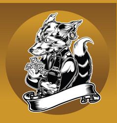 Fox drink card ribbon animal vector