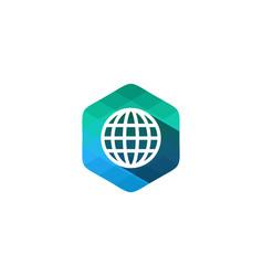 globe hexagon pixel letter shadow logo icon design vector image