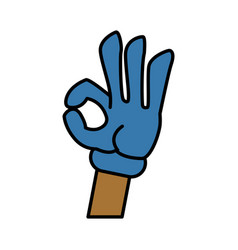 glova hand ok symbol cartoon vector image
