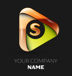golden letter s logo in the golden-green triangle vector image