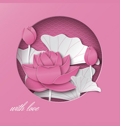 Greeting card with cut round frame lotus flowers vector