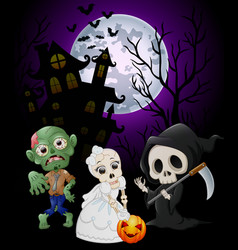 halloween costumes grim reaper with skull bride an vector image