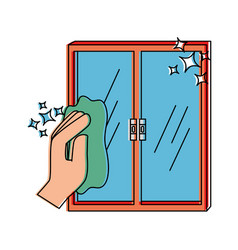 hand wiping window with cloth vector image