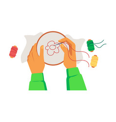 hands holding hoop with canvas and embroidering vector image