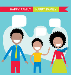 Happy african american family members parents and vector