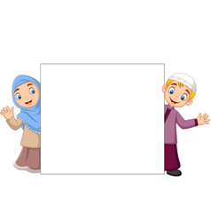 Happy muslim kids cartoon with blank sign vector