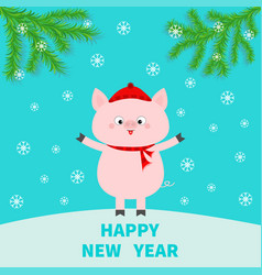 Happy new year pig on snowdrift chinise symbol of vector