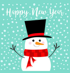Happy new year snowman carrot nose black hat red vector