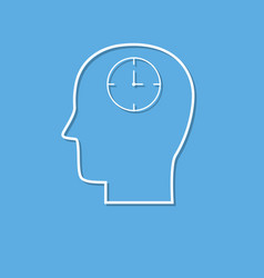 head with clock thin line icon cut from white vector image