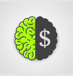 Human brain with dollar sign vector
