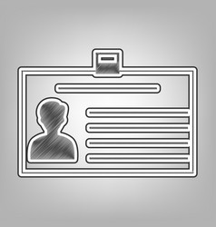 Identification card sign pencil sketch vector