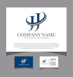Initials jj logo with a business card vector