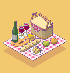 Isometric low poly picnic food set vector