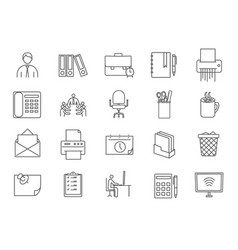 large collection black and white office icons vector image