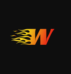 letter w burning flame logo design template vector image