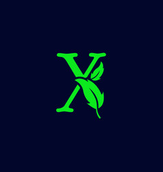Letter x leaf nature eco green logo template vector