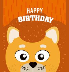 Lion happy birthday card vector