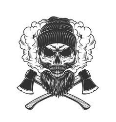 lumberjack skull in smoke cloud vector image
