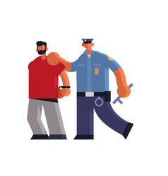 Male police officer arrested criminal policeman vector