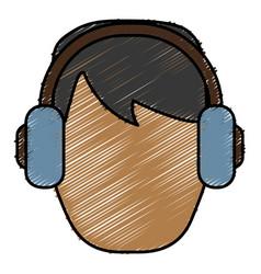 Man with headphones icon vector