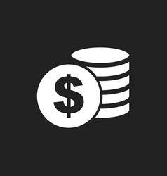 Money icon on black background coins in flat vector