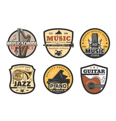 musical instruments icons for music record studio vector image