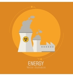Nuclear power energy plant building vector