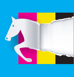 Paper horse ripping paper with print colors vector