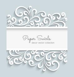 Paper swirls frame vector