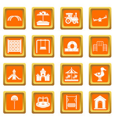 Playground icons set orange vector