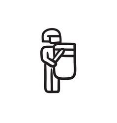 Policeman with shield and baton sketch icon vector