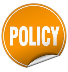 Policy round orange sticker isolated on white vector