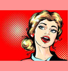 pop art retro surprised blond woman face with open vector image