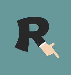 r letter businessman hand font it shows finger vector image