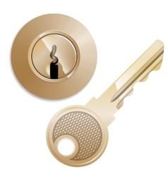 Round Pin tumbler lock and key vector