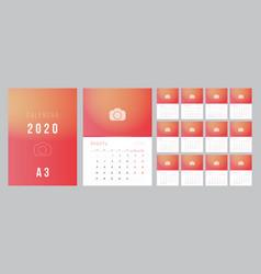 Russian calendar 2020 week starts on monday vector