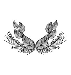 rustic leaves with feathers decoration vector image vector image