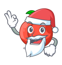 Santa fruit of nectarine isolated on mascot vector