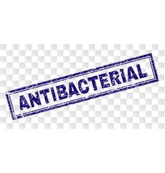 Scratched antibacterial rectangle stamp vector