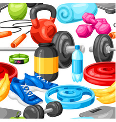 seamless pattern with fitness equipment vector image
