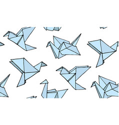 Seamless pattern with hand drawn origami birds vector