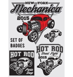 Set of badges with hot rod vector