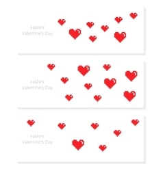 Set of banners with pixel hearts vector image