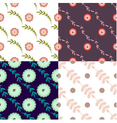 set of four seamless pattern with floral elements vector image