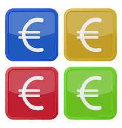 Set of four square icons with euro currency symbol vector